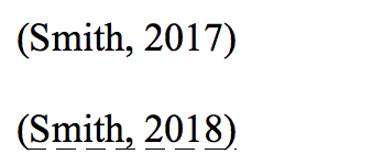 Citations for '(Smith, 2017)' and '(Smith, 2018)' with a dashed underline on the latter