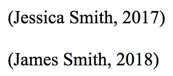 Citations for '(Jessica Smith, 2017)' and '(James Smith, 2018)'