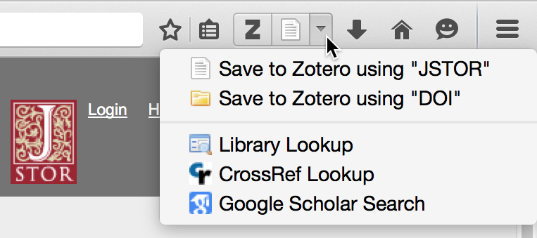 Save menu with options for saving using JSTOR or DOI translator