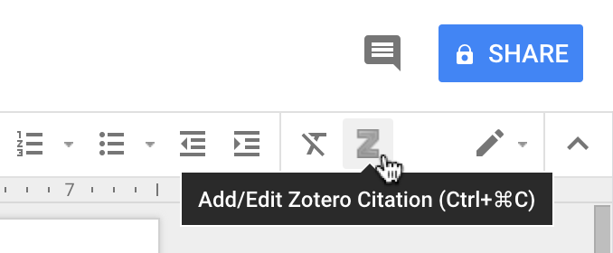 Add/Edit Zotero Citation toolbar button in Google Docs