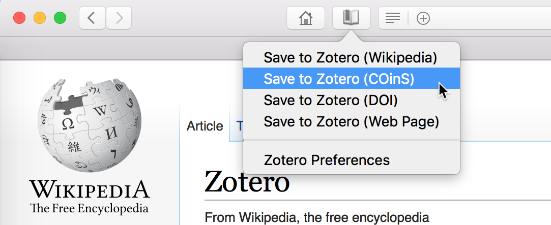Save button context menu with option to save to Zotero using COinS on Wikipedia page
