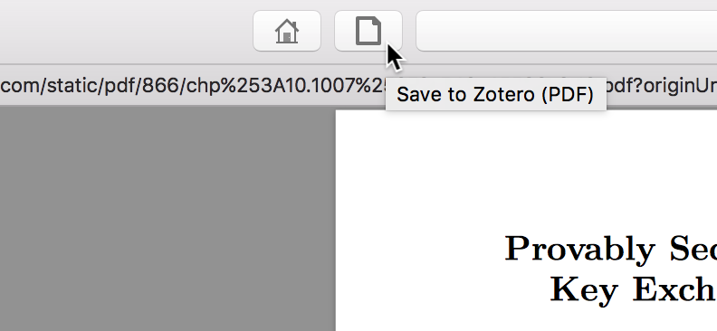 Tooltip when hovering over save button that says 'Save to Zotero (PDF)'