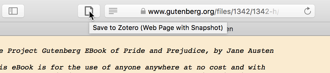 Tooltip when hovering over save button that says 'Save to Zotero (Web Page with Snapshot)'
