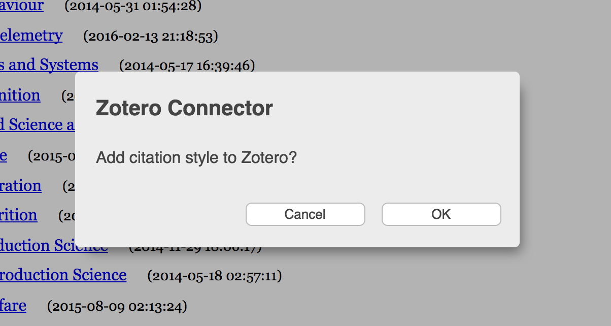 Dialog box: Add citation style to Zotero?
