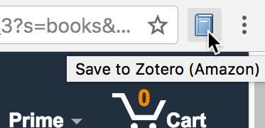the Firefox toolbar on an Amazon webpage showing a book icon and a tooltip saying Save to Zotero (Amazon)