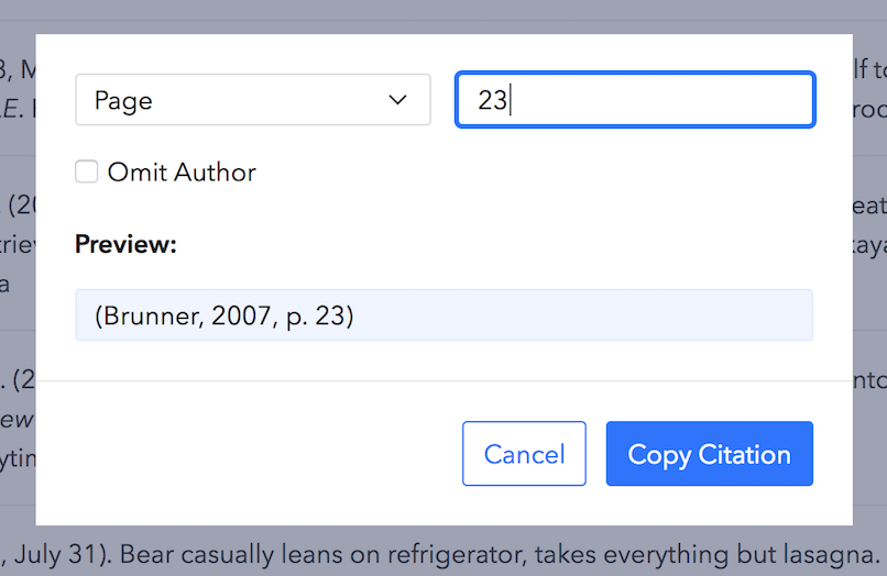 Copy Citation dialog with a page number entered