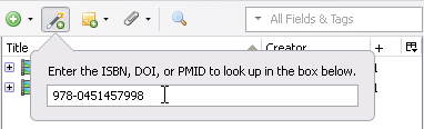 Image displaying the ISBN, DOI, or PMID look up window