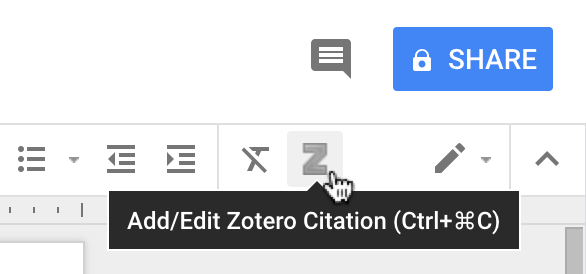 Screenshot of adding citation in Zotero in Google Docs