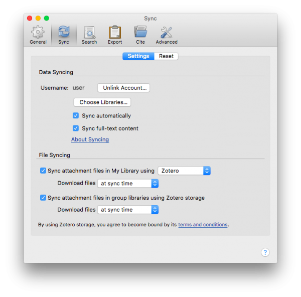 the settings for managing data syncing and file syncing in Zotero